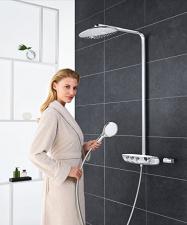 Dušo sistema su termostatu Rainshower SmartControl 360 Duo Grohe, su Power&Soul 115 dušiuku, chromas