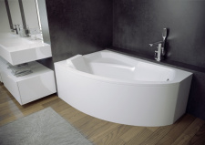 Asimetrinė akrilinė vonia Besco RIMA 160x100 cm, su uždanga