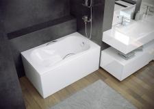 Stačiakampė akrilinė vonia Besco ARIA REHAB 120, be rankenėlių
