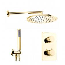 Aukso spalvos potinkinis dušo komplektas Bossini Cosmo Termo 280 su termostatiniu maišytuvu