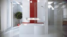 Nestandartinė akrilinė vonia su stikline sienele Besco Inspiro