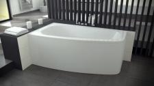 Asimetrinė akrilinė vonia Besco LUNA 150x80