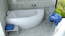 Asimetrinė akrilinė vonia Besco MILENA 150x70