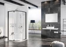 Pusapvalė dušo kabina Ravak Pivot PSKK3 juodu rėmu