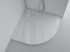 Dušo padėklas Blu RILIEVO Round Stone grey, akmens masės 90x90