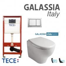 Pakabinamo WC Eden No Rim Galassia ir rėmo Tece 4in1 Base komplektas