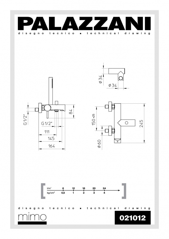 Настенный смеситель для ванны с душиком Idrotech II Digit 3, Palazzani