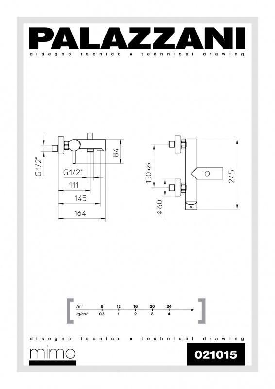 Virštinkinis vonios maišytuvas Idrotech II Digit 3, Palazzani