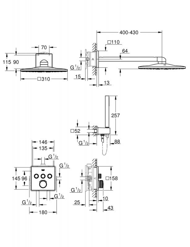 Potinkinė dušo sistema Grohtherm SmartControl Perfect ir Rainshower 310 SmartActive Cube