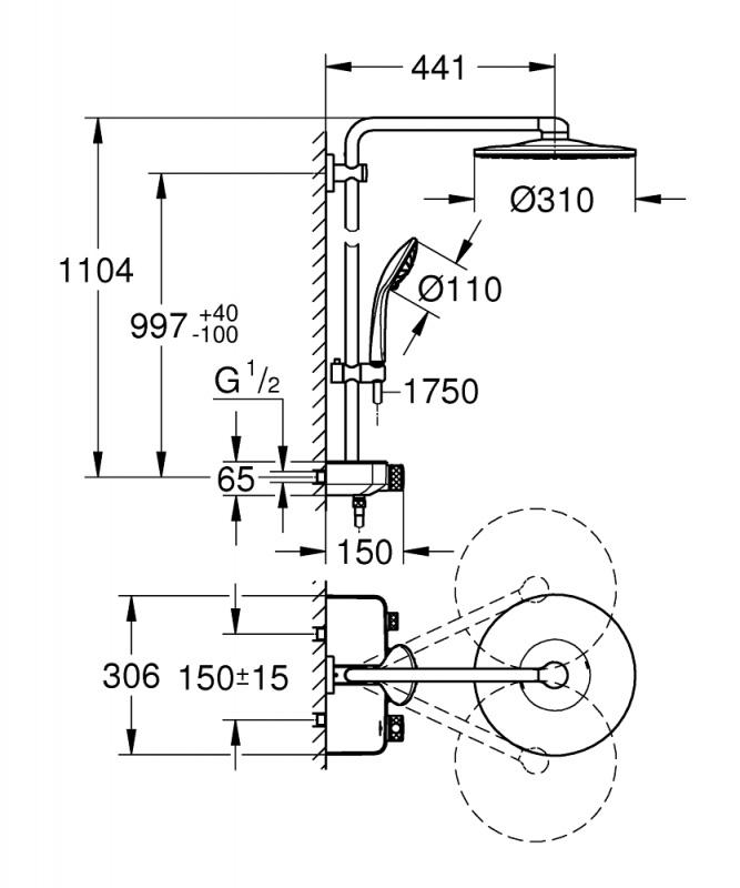 Dušo sistema su termostatu Grohe Euphoria SmartControl System 310 Duo