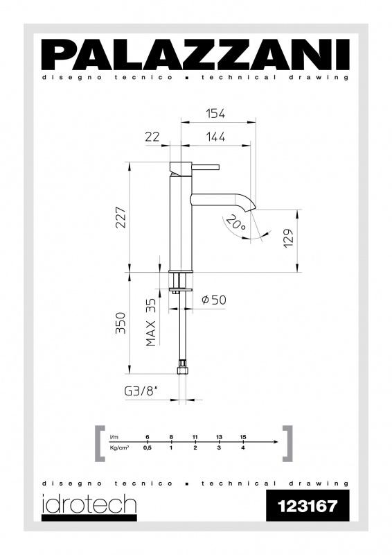Maišytuvas praustuvui (paaukštintas) Palazzani Idrotech 2