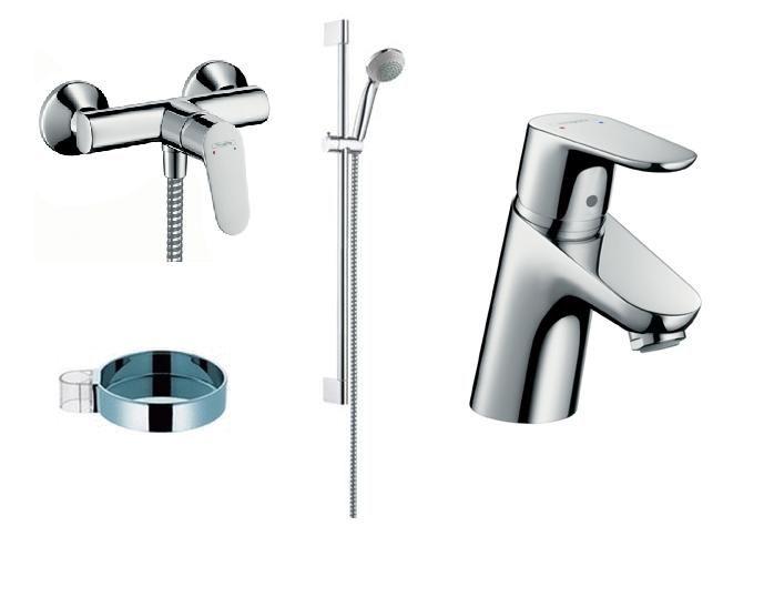 Focus E2 dušo komplektas (dušo maišytuvas, praustuvo maišytuvas, dušo stovas, muilinė) Hansgrohe