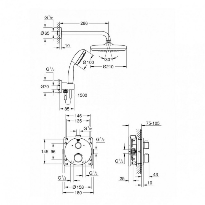 Potinkinė dušo sistema Grohtherm Perfect ir Tempesta 210