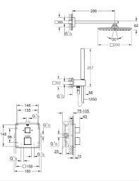 Potinkinė dušo sistema Grohtherm Cube Perfect ir Rainshower ALLURE 230