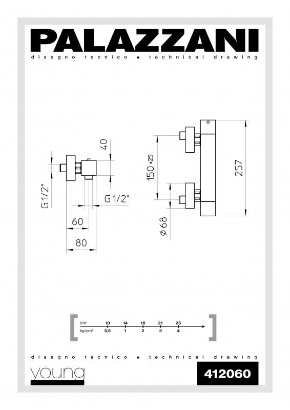 Virštinkinis termostatinis maišytuvas dušui Qadra Young, Palazzani