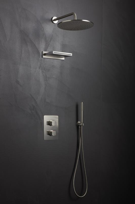 Plieno spalvos potinkinė termostatinė dušo sistema Palazzani Mis color