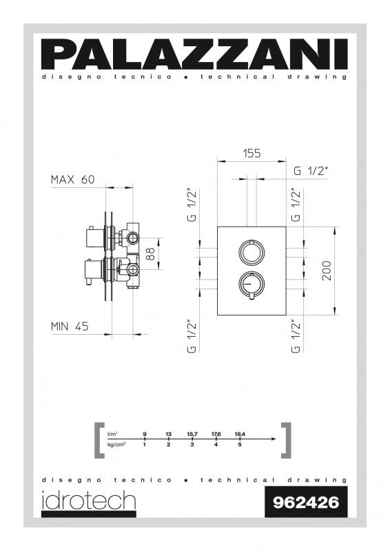 Potinkinis 3-jų eigų termostatinis maišytuvas dušui Palazzani Digit 3 Idrotech 2
