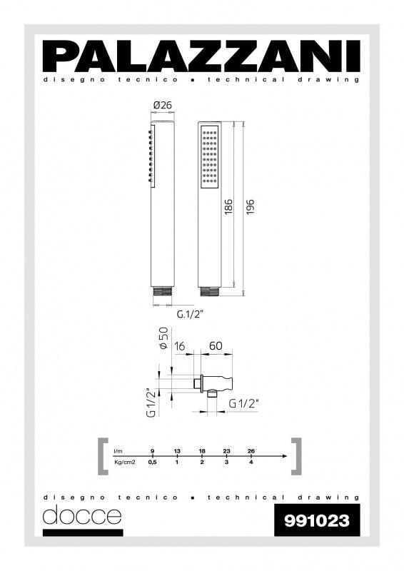 Rankinis dušiukas su laikikliu ir vandens padavimu Digit 3 Idrotech 2 Formula Multi, Palazzani