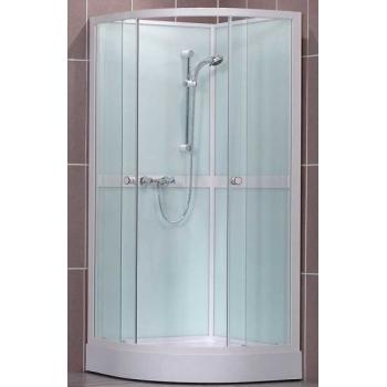 Pusapvalė ketursienė dušo kabina – dėžė SaniPro Simple