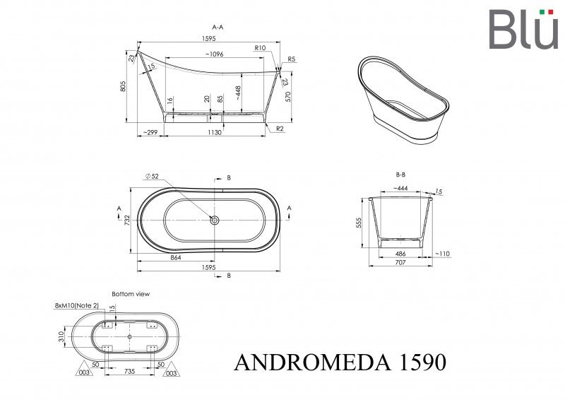 Akmens masės vonia Blu ANDROMEDA 1595 Evermite