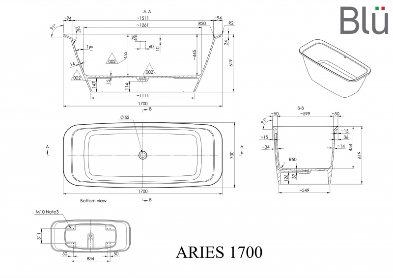 Akmens masės vonia Blu ARIES 1700 Evermite su persipylimu