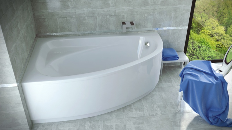 Asimetrinė akrilinė vonia Besco CORNEA 140x80