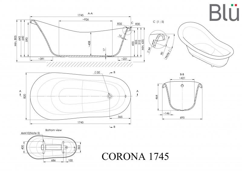 Akmens masės retro vonia Blu CORONA 1745 Išpardavimas