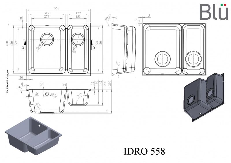 Akmens masės plautuvė Blu IDRO