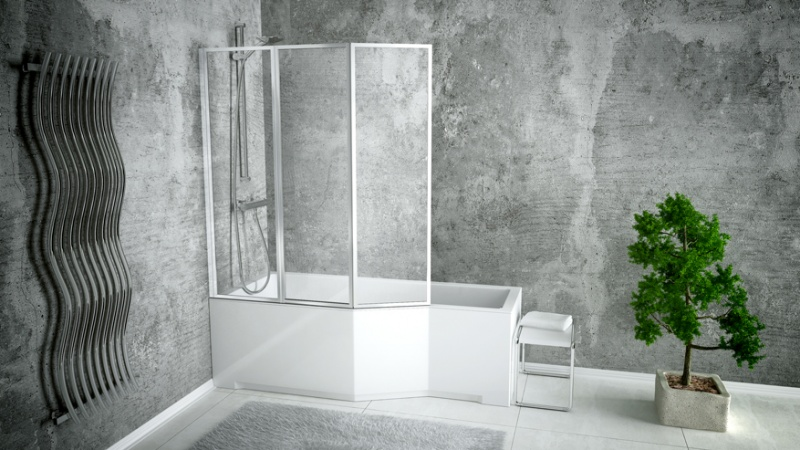 Nestandartinė akrilinė vonia su stikline sienele Besco INTEGRA