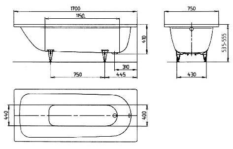 Ergonominė plieninė vonia Kaldewei Saniform Plus 170x75
