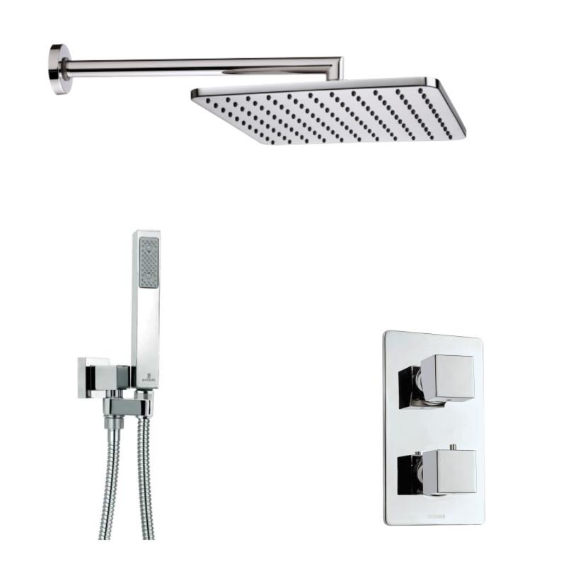 Juodas arba baltas potinkinis dušo komplektas Bossini Cosmo Termo Q280 su termostatiniu maišytuvu