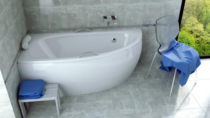 Asimetrinė akrilinė vonia Besco MILENA 150x70 su uždanga, KAIRĖS pusės