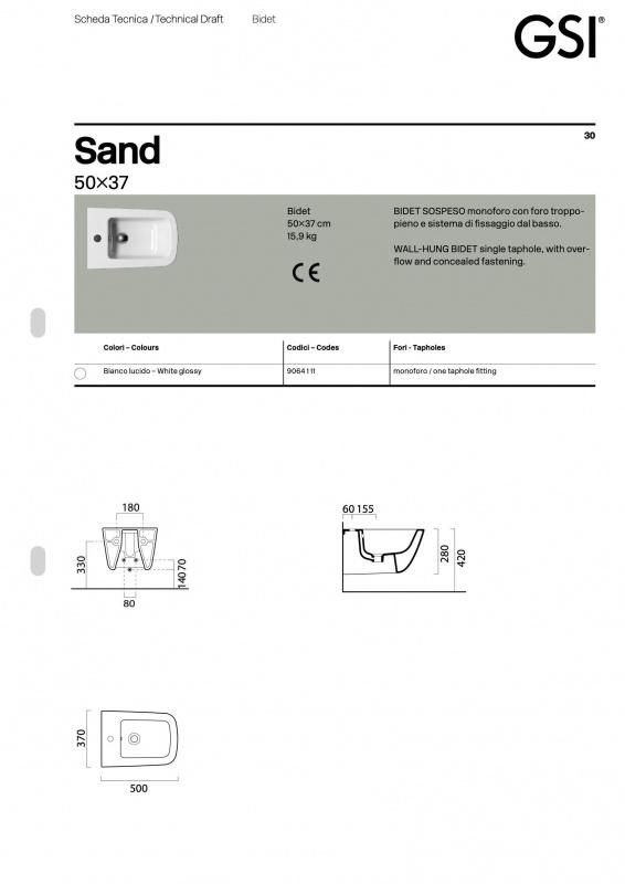 Pakabinamas bide Sand GSI