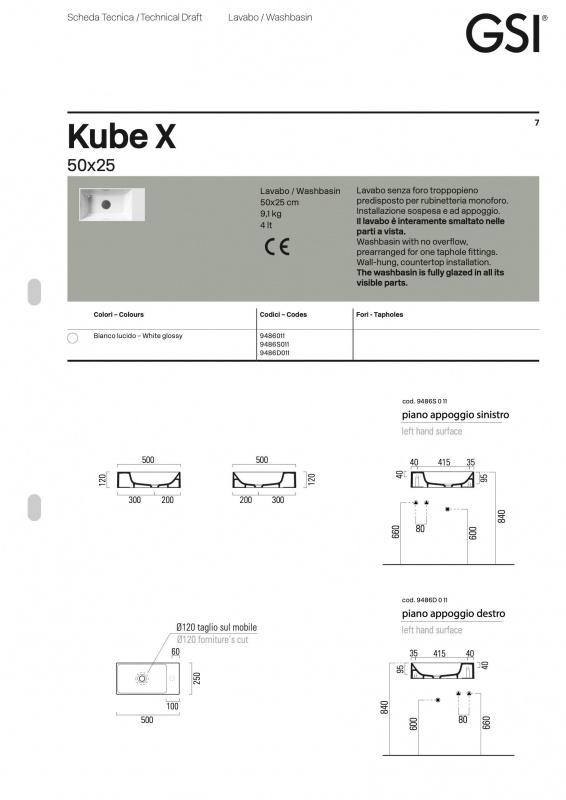Praustuvas pakabinamas Kube X 50 color, GSI