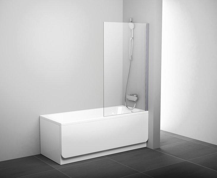 Stačiakampių vonių sienelė Ravak PVS1 juodu profiliu