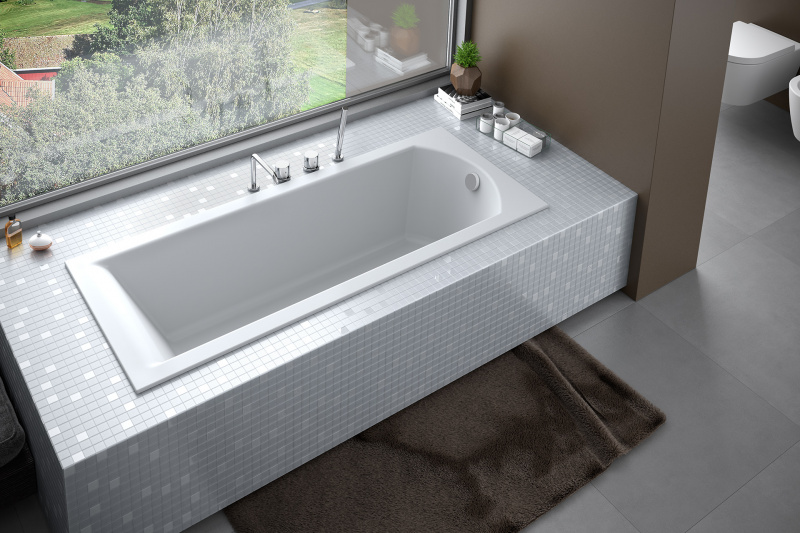 Stačiakampė akrilinė vonia Besco SHEA Slim