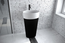 Pastatomas ant grindų praustuvas Besco UNIQA, juoda/balta