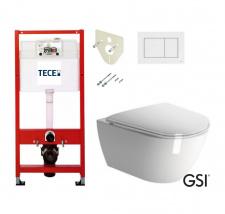Pakabinamo WC PURA Rimless GSI ir rėmo Tece Profil 4in1 su baltu klavišu komplektas