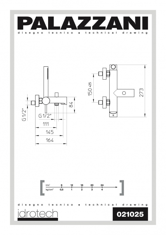 Virštinkinis vonios maišytuvas su dušeliu Idrotech II, Palazzani