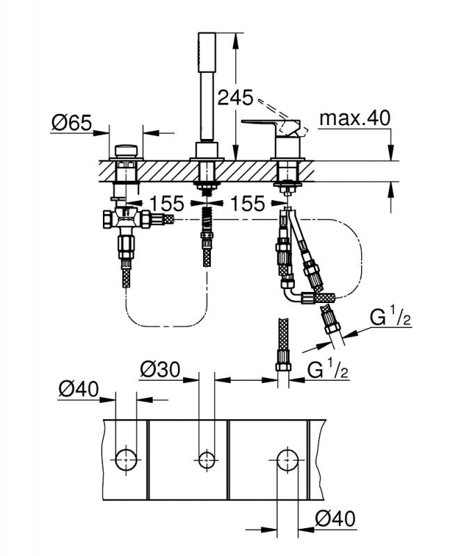 Maišytuvas montuojamas į vonios kraštą Grohe Lineare