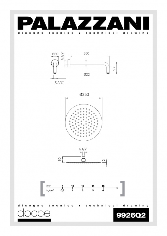 Potinkinė dušo sistema Palazzani Idrotech, su termostatiniu maišytuvu
