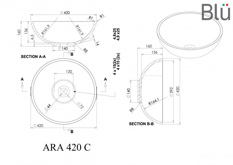 Pastatomas akmens masės praustuvas Blu ARA ir  potinkinis Mimo maišytuvas su Click-Clack dugno vožtuvu
