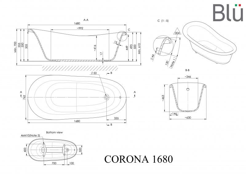 Akmens masės retro vonia Blu CORONA Black/White 1680
