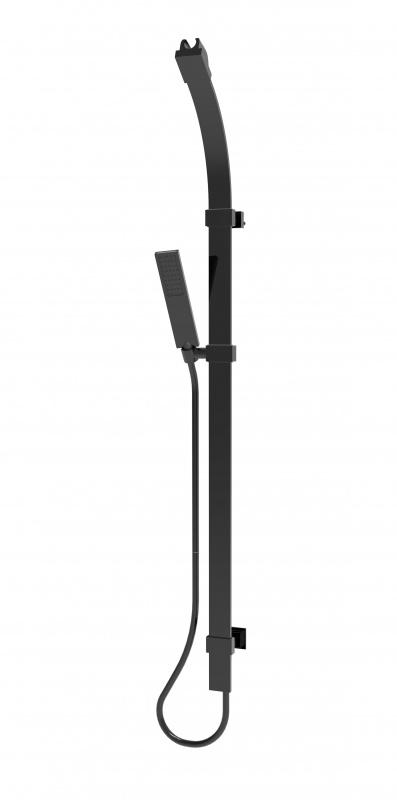 Juodas dušo komplektas: stovas su dušo galva Bossini D47 — FLAT-ONE