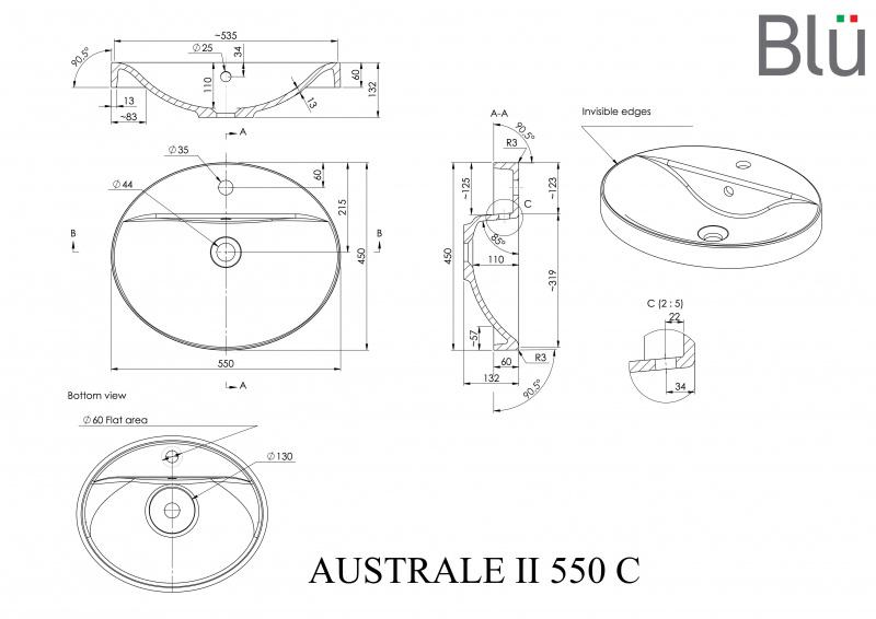 Akmens masės praustuvas Blu AUSTRALE II