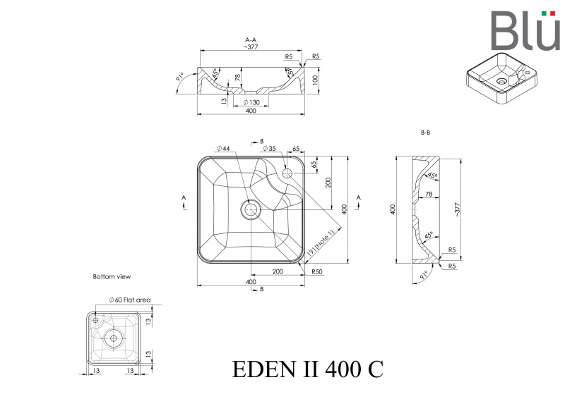 Akmens masės pastatomas praustuvas Blu EDEN II 400