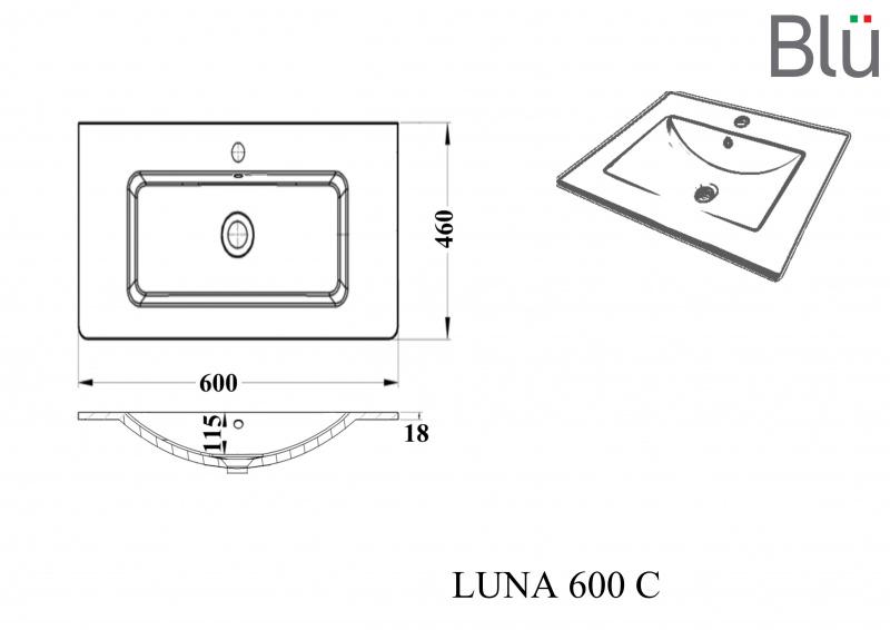 Keramikinis praustuvas Blu LUNA 600