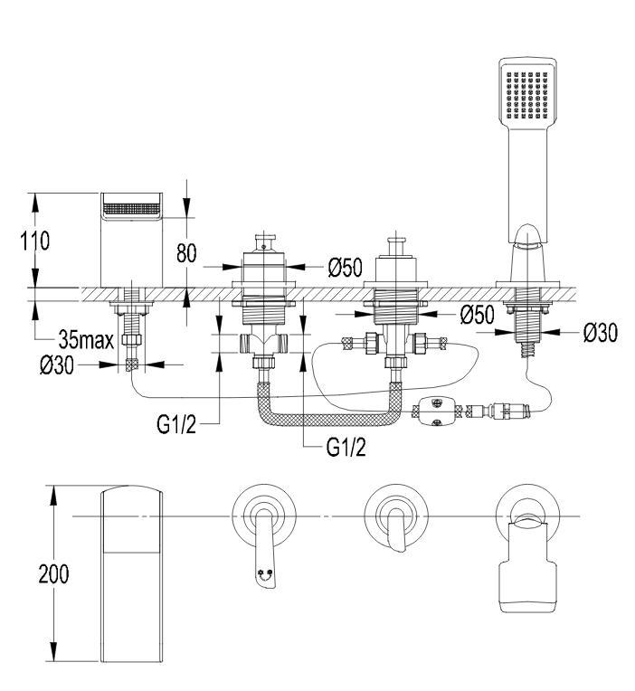 Maišytuvas montuojamas į vonios kraštą OMNIRES CASCADE