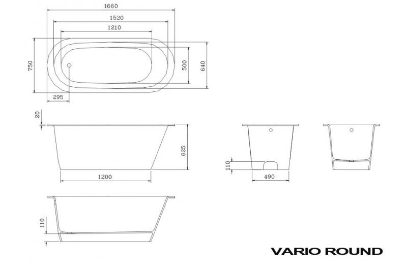 Akmens masės vonia PAA VARIO ROUND 166x75