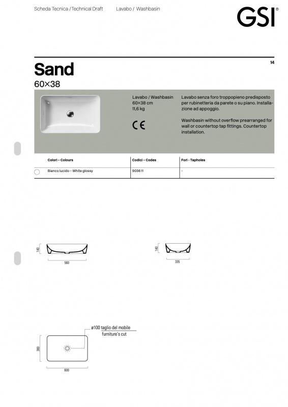 Pastatomas praustuvas Sand, GSI